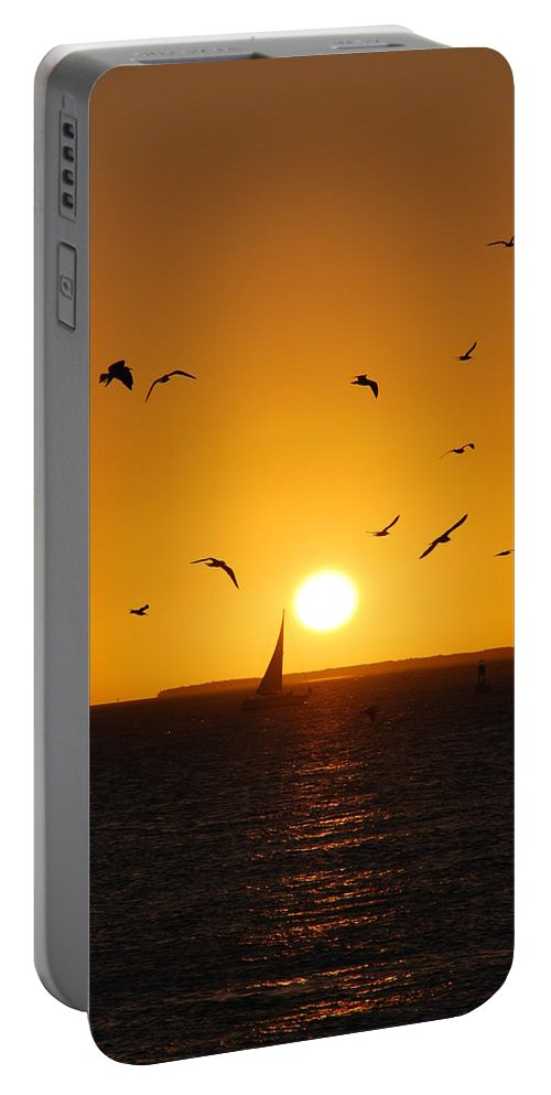 Sunset Portable Battery Charger featuring the photograph Sunset Birds Key West by Susanne Van Hulst