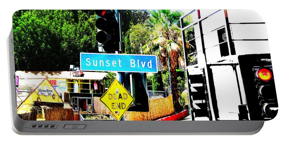 Stoplight On Sunset Blvd Portable Battery Charger featuring the digital art Sunset Blvd by Maria Kobalyan