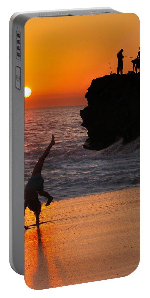 Beach Portable Battery Charger featuring the photograph Sunset Cartwheel by Jill Reger