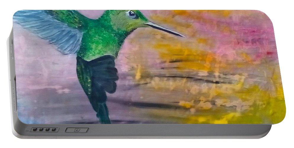 Hummingbird Portable Battery Charger featuring the painting Sunset Dancer by J Bauer