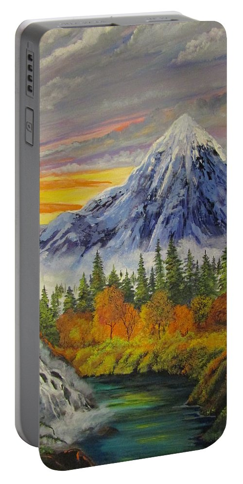 Landscape Portable Battery Charger featuring the painting Sunset  by Dave Farrow