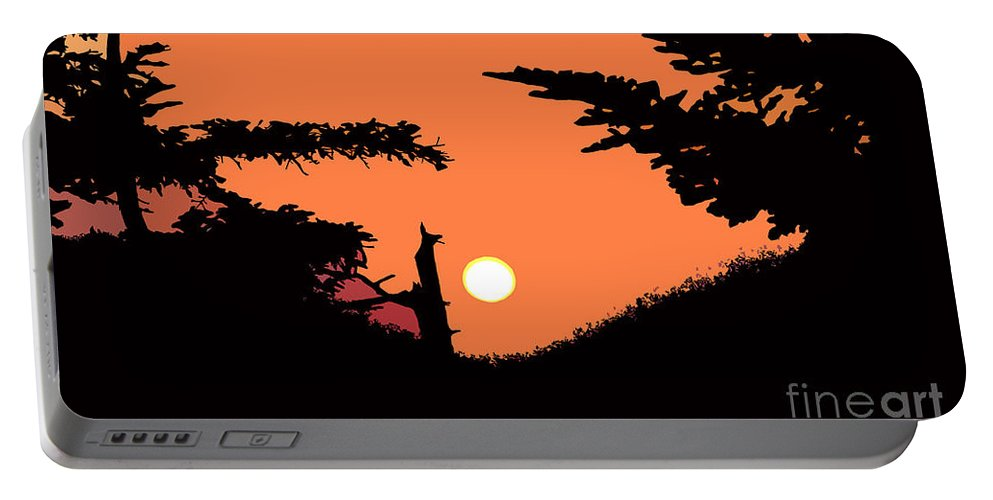 Sunset Portable Battery Charger featuring the painting Sunset by David Lee Thompson