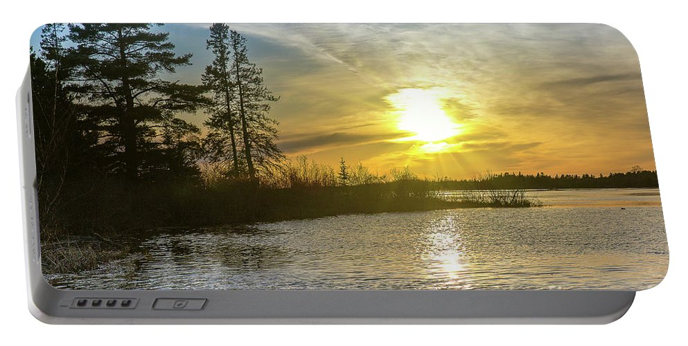 Sunset Portable Battery Charger featuring the photograph Sunset Dollarville Flooding Newberry Michigan -0243 by Norris Seward