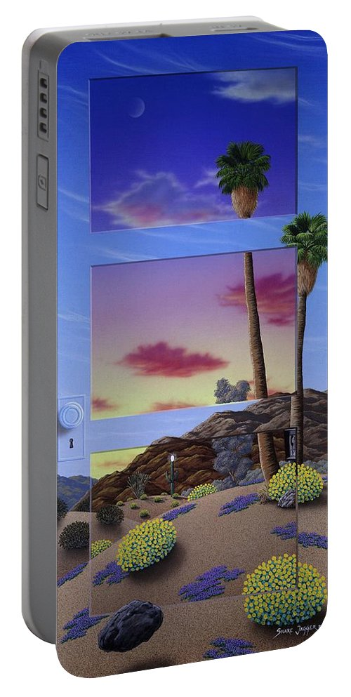 Landscape Portable Battery Charger featuring the painting Sunset Door by Snake Jagger