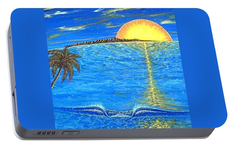 Sunset Dream Portable Battery Charger featuring the painting Sunset Dream by Paul Carter