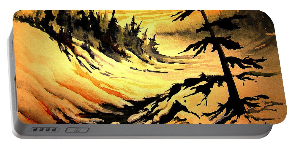 Sunset Extreme Portable Battery Charger featuring the painting Sunset Extreme by Joanne Smoley
