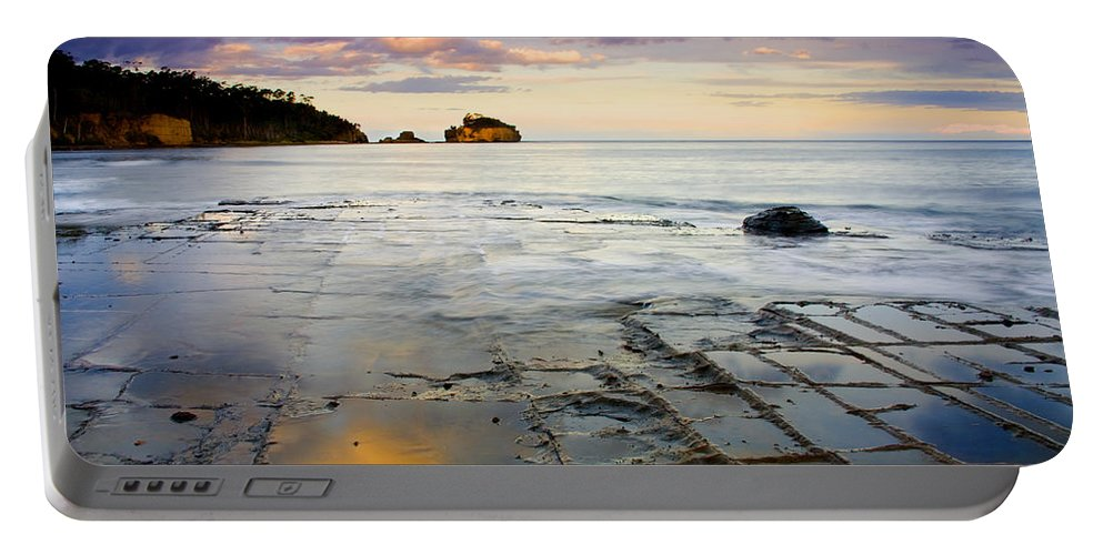 Tesselated Pavement Portable Battery Charger featuring the photograph Sunset Grid by Mike Dawson