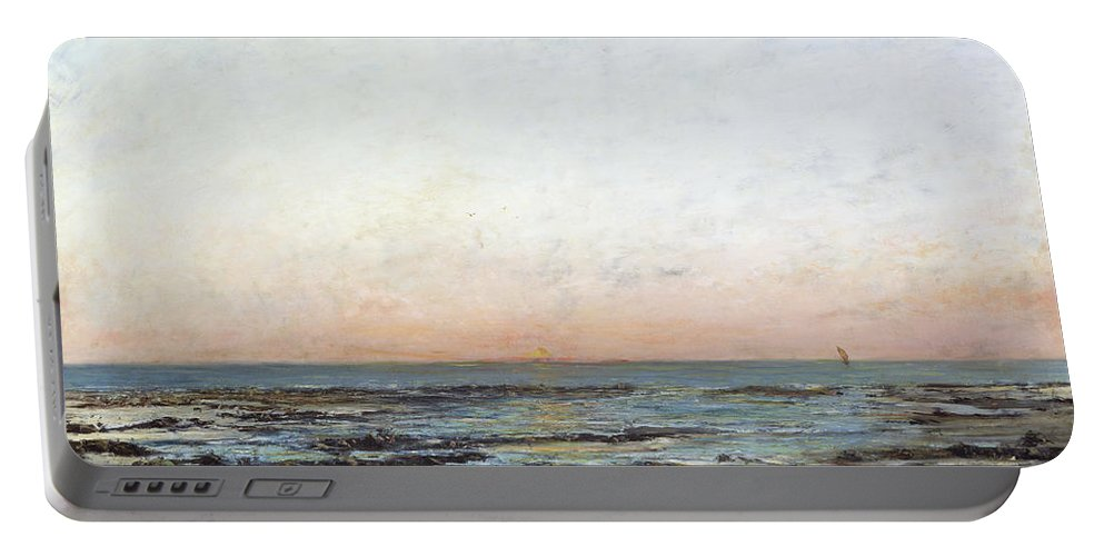 Sunset Portable Battery Charger featuring the painting Sunset by Gustave Courbet