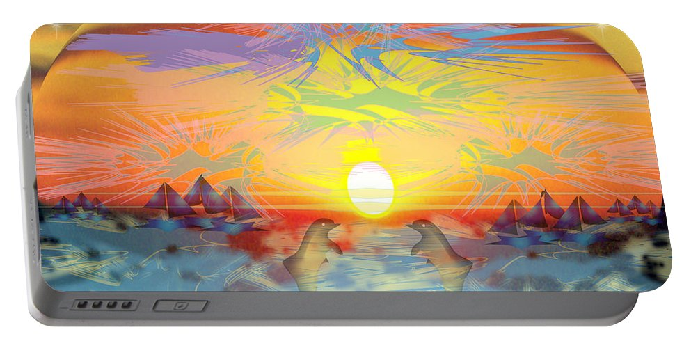Nature Portable Battery Charger featuring the digital art Sunset IIi by George Pasini