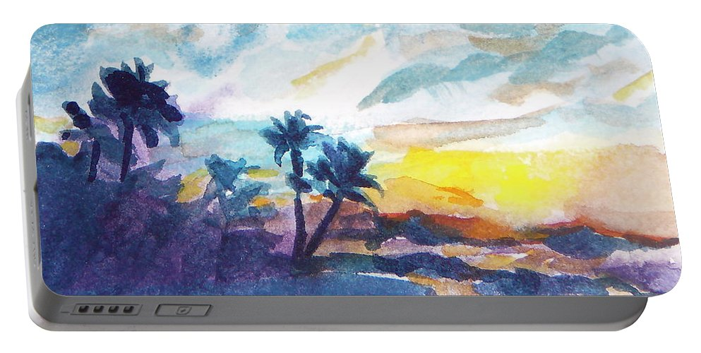 Landscape Portable Battery Charger featuring the painting Sunset In Hawaii by Jan Bennicoff