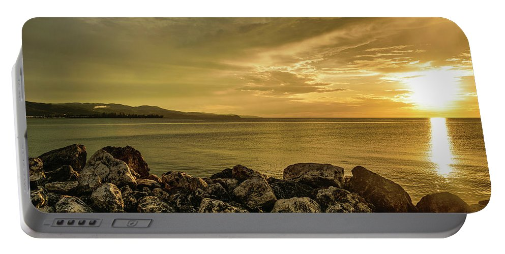 Vacation Destination Portable Battery Charger featuring the photograph Sunset In Montego Bay by Debbie Ann Powell