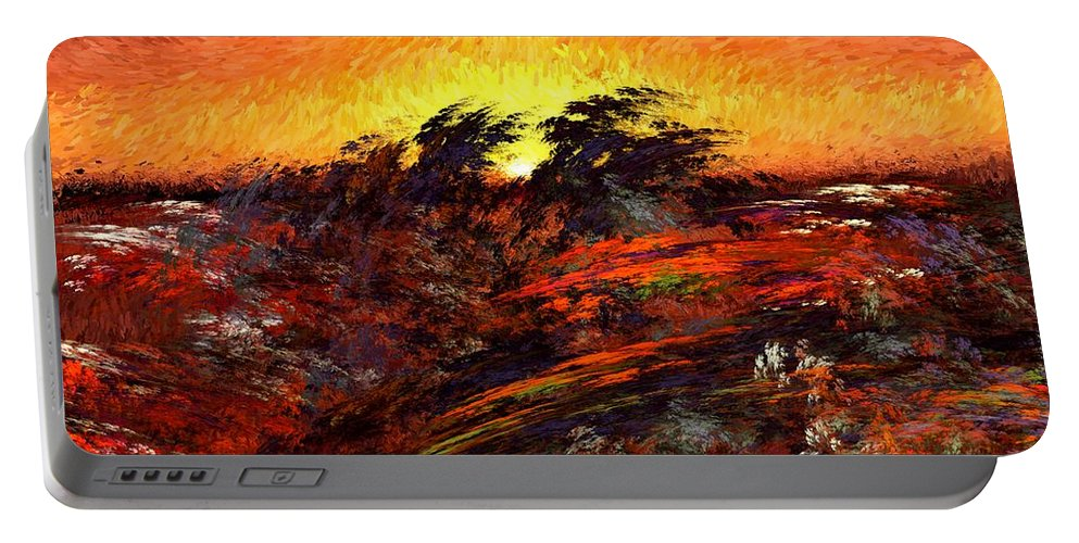 Abstract Digital Painting Portable Battery Charger featuring the digital art Sunset In Paradise by David Lane
