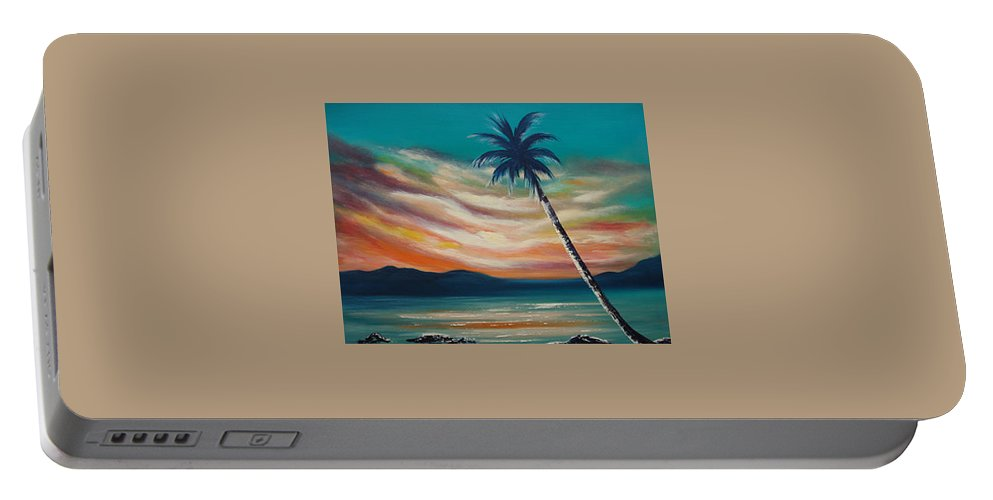 Sunset Portable Battery Charger featuring the painting Sunset In Paradise by Gina De Gorna