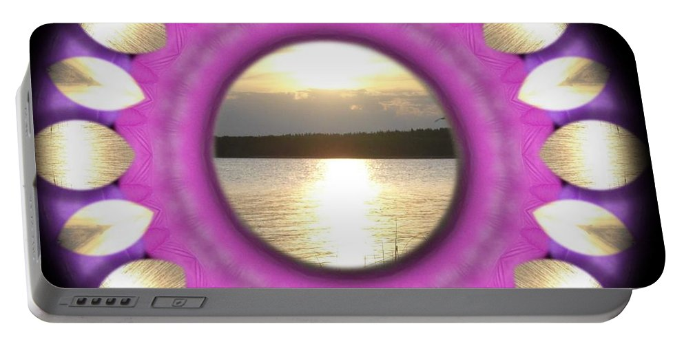 Sunset Portable Battery Charger featuring the mixed media Sunset In Summertime by Pepita Selles