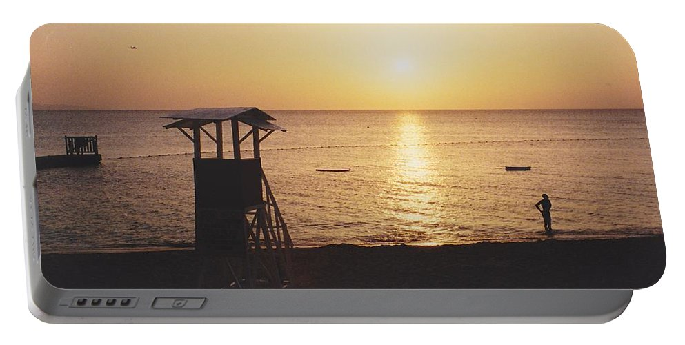 Sunsets Portable Battery Charger featuring the photograph Sunset Life Guard by Michelle Powell