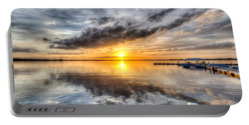 Lake Portable Battery Charger featuring the photograph Sunset Mirroracle by Ronald Kotinsky
