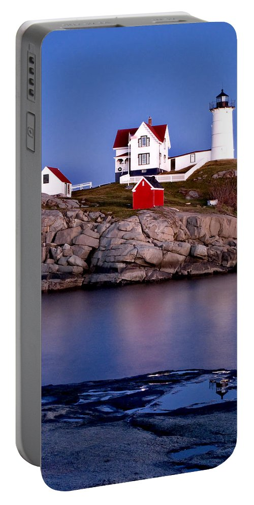 Lighthouse Portable Battery Charger featuring the photograph Sunset Nubble by Greg Fortier
