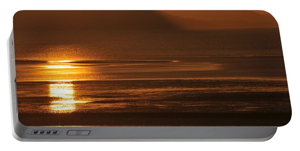 Sunset Portable Battery Charger featuring the photograph Sunset On Coast Of North Wales by Harry Robertson