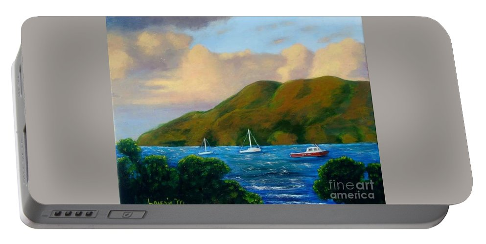 Sunset Portable Battery Charger featuring the painting Sunset On Cruz Bay by Laurie Morgan