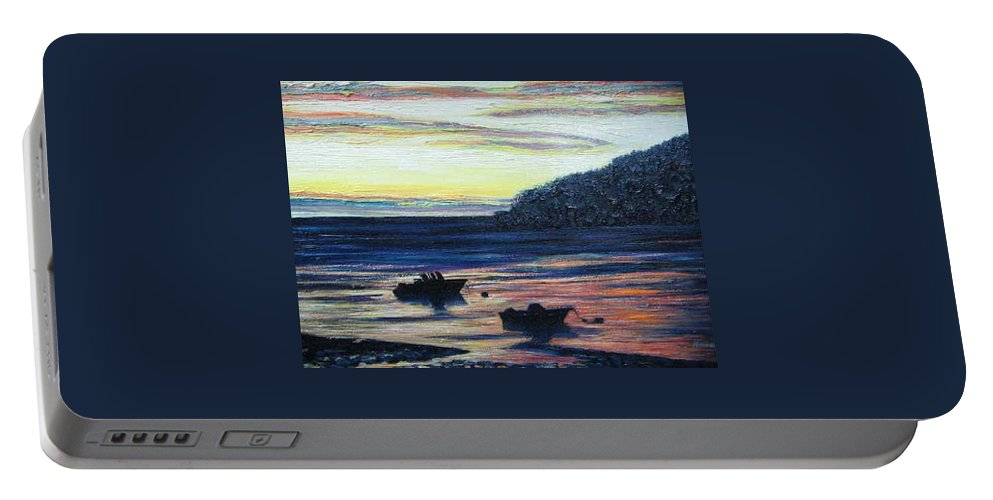 Maine Portable Battery Charger featuring the painting Sunset On Maine Coast by Richard Nowak