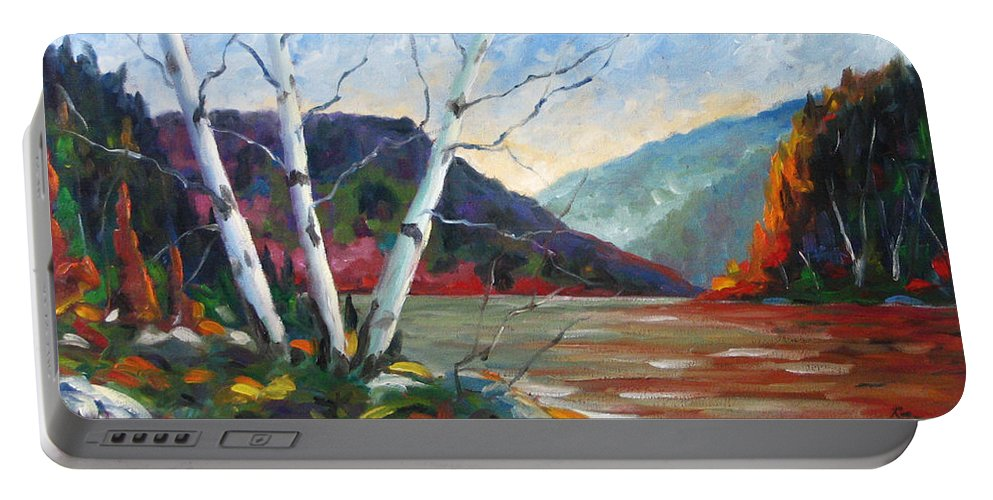 Landscape; Landscapes/scenic; Birches;sun;lake;pranke Portable Battery Charger featuring the painting Sunset on the Lake by Richard T Pranke
