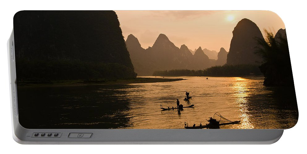 Asia Portable Battery Charger featuring the photograph Sunset on the Li River by Michele Burgess