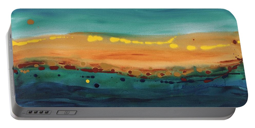 Art Portable Battery Charger featuring the painting Sunset On The Ocean by Melissa Wallace