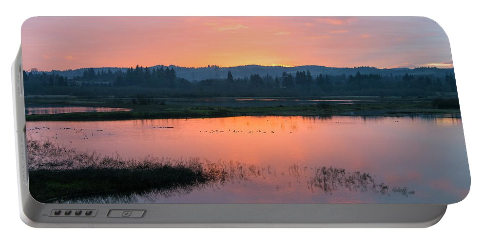 Sunset Portable Battery Charger featuring the photograph Sunset On The Refuge by Steven Clark