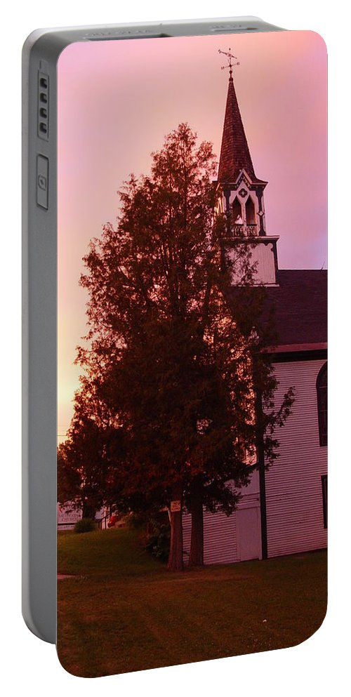Whitefield Methodist Church Portable Battery Charger featuring the photograph Sunset On The Whitefield Methodist Church by Dorothea Abbott