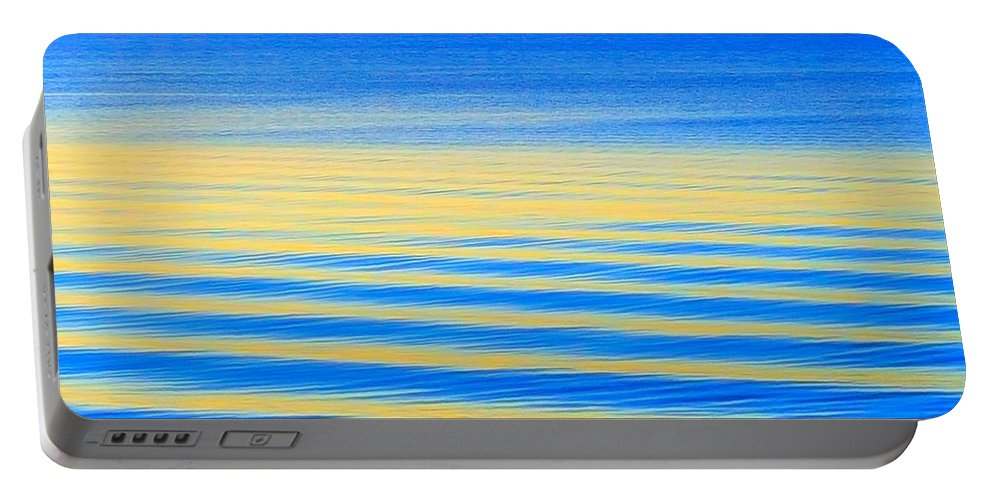 Deep Blue Ocean Water Portable Battery Charger featuring the photograph Sunset On Waves by Harriet Harding