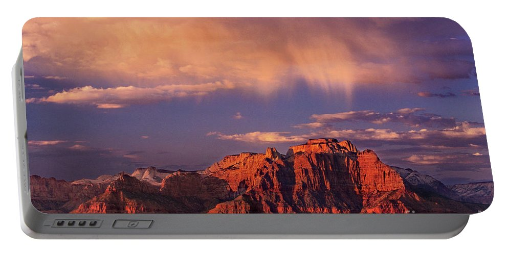 North America Portable Battery Charger featuring the photograph Sunset On West Temple Zion National Park by Dave Welling