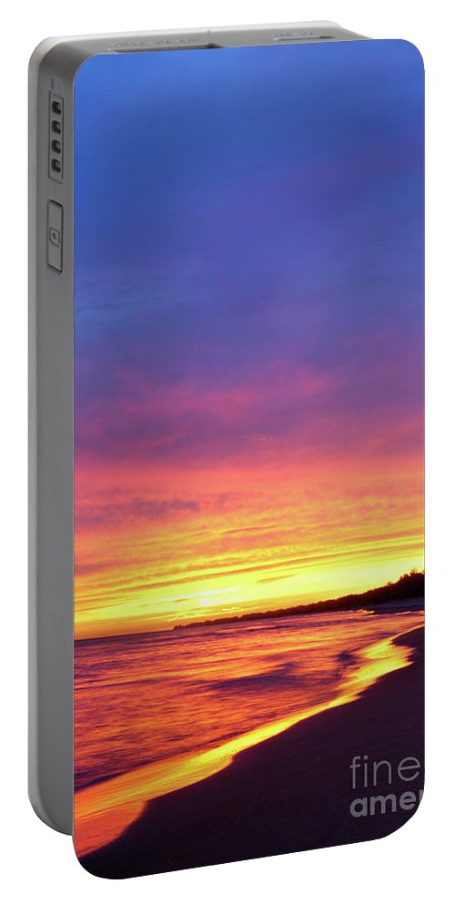 Beach Portable Battery Charger featuring the photograph Sunset Over Beach by Maxim Images Prints