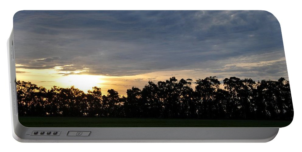 Tree Portable Battery Charger featuring the photograph Sunset Over Farm And Trees by Matt Quest