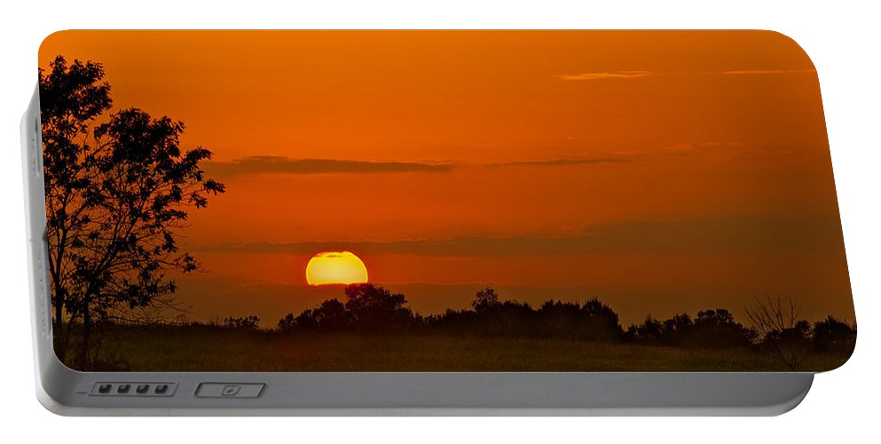 Cloud Portable Battery Charger featuring the photograph Sunset Over Horicon Marsh by Steve Gadomski