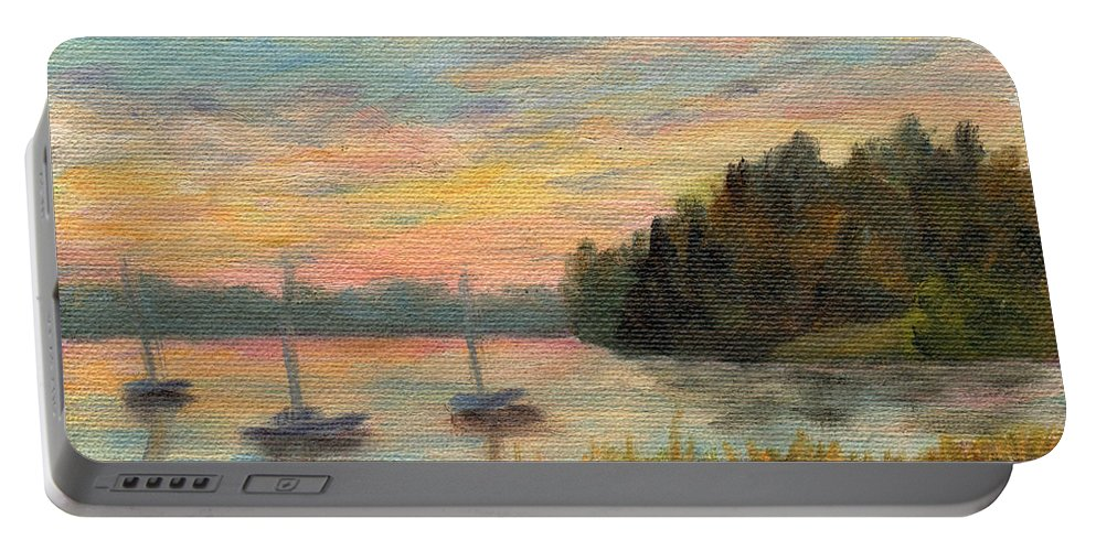 Sunset Portable Battery Charger featuring the painting Sunset Over Massabessic by Sharon E Allen