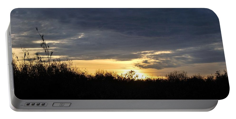 Tree Portable Battery Charger featuring the photograph Sunset Over Rural Field by Matt Quest
