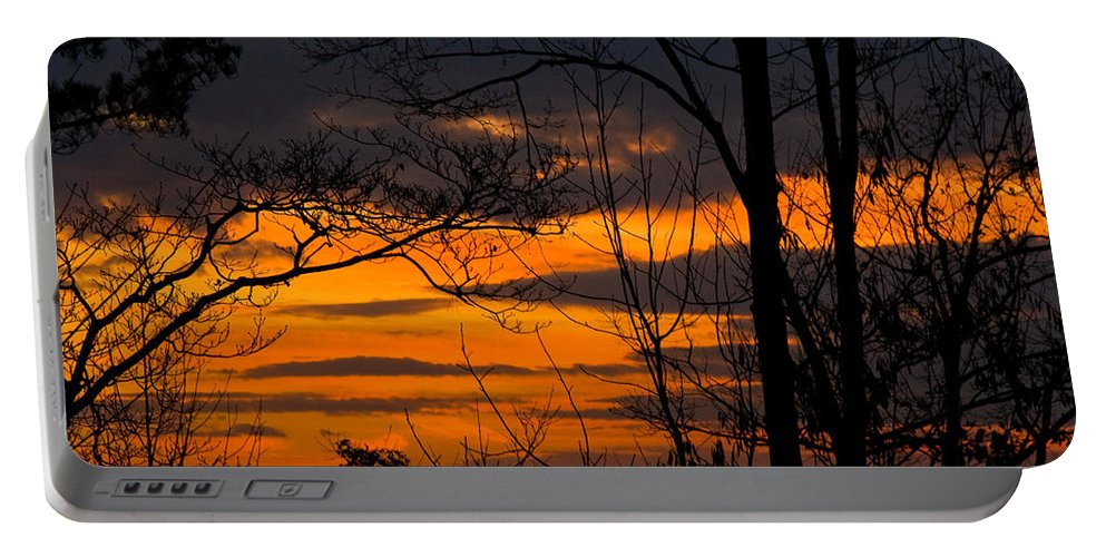 Sunset Portable Battery Charger featuring the photograph sunset over Suwanee 2010 by David Campbell