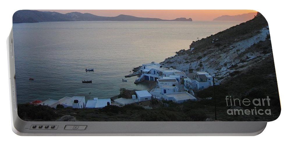Milos Portable Battery Charger featuring the photograph Sunset Over The Fishing Cove Of Klima On The Cycladic Island Of Milos by Clay Cofer