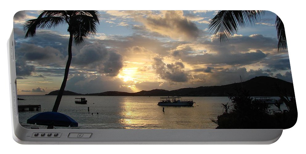 Caribbean Portable Battery Charger featuring the photograph Sunset Over The Inifinity Pool At Frenchman's Cove In St. Thomas by Margaret Bobb