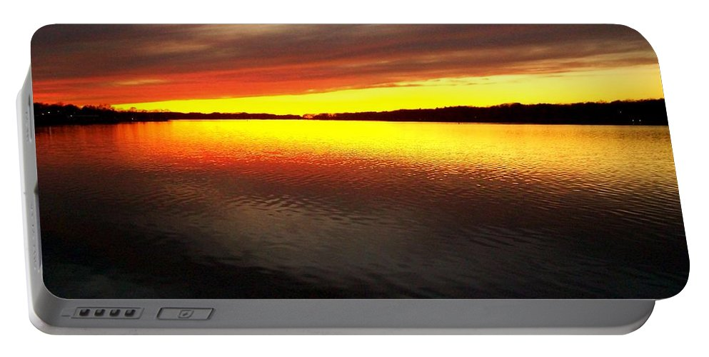 Gold Portable Battery Charger featuring the photograph Sunset Over The Lake by Michelle Calkins