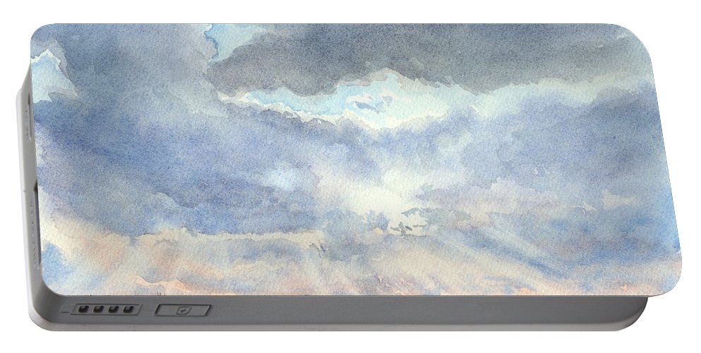 Landscape Portable Battery Charger featuring the painting Sunset Over Wharton County by Karen Boudreaux