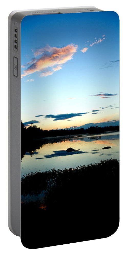 Water Portable Battery Charger featuring the photograph Sunset Pond by Greg Fortier
