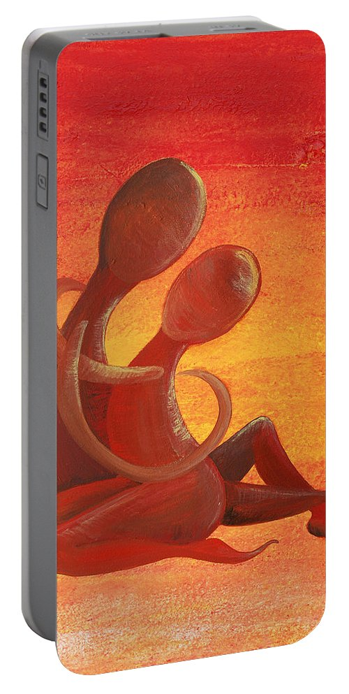 Acrylic On Canvas Portable Battery Charger featuring the painting Sunset Rainbow Soul Collection by Catt Kyriacou