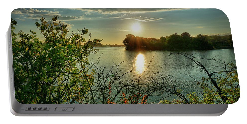 Sunset Portable Battery Charger featuring the digital art Sunset Reflection by Lilia D