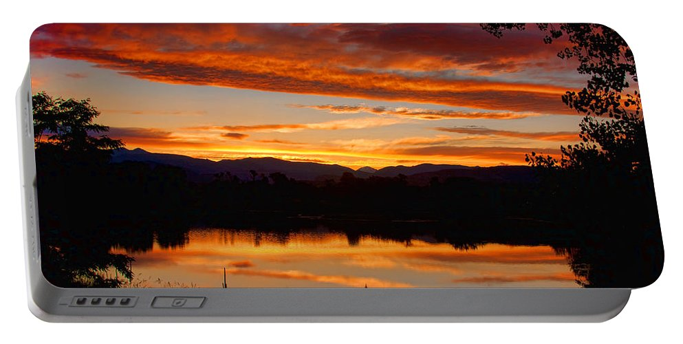 Red Portable Battery Charger featuring the photograph Sunset Reflections by James BO Insogna