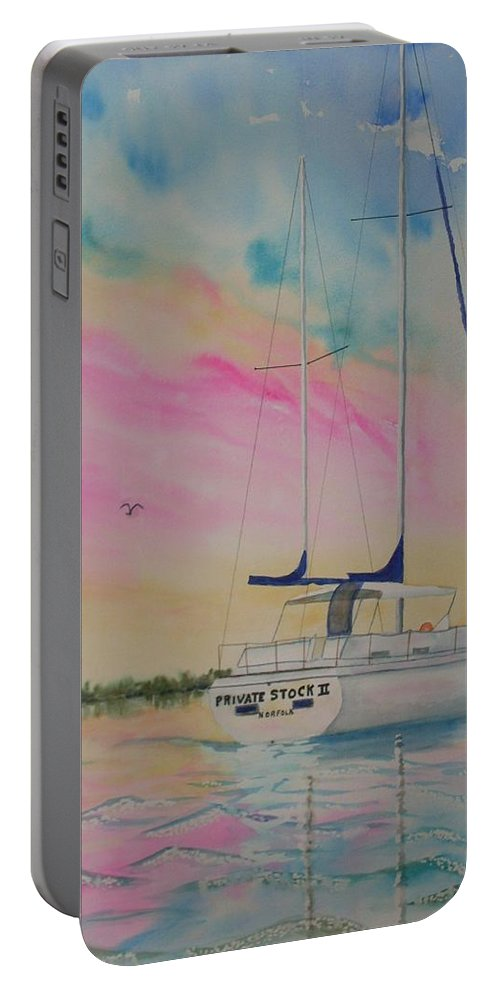 Sunset Sail 3 Portable Battery Charger featuring the painting Sunset Sail 3 by Warren Thompson
