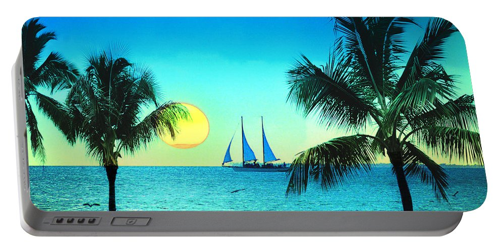 Sailboat Portable Battery Charger featuring the photograph Sunset Sailor by Bill Cannon
