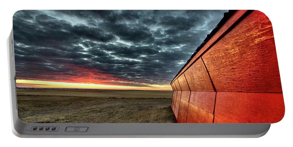Sunset Portable Battery Charger featuring the digital art Sunset Saskatchewan Canada by Mark Duffy