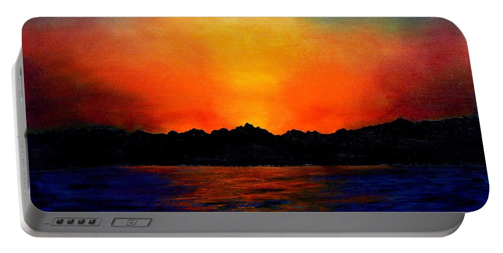 Sinai Sunset Portable Battery Charger featuring the painting Sunset Sinai by Helmut Rottler