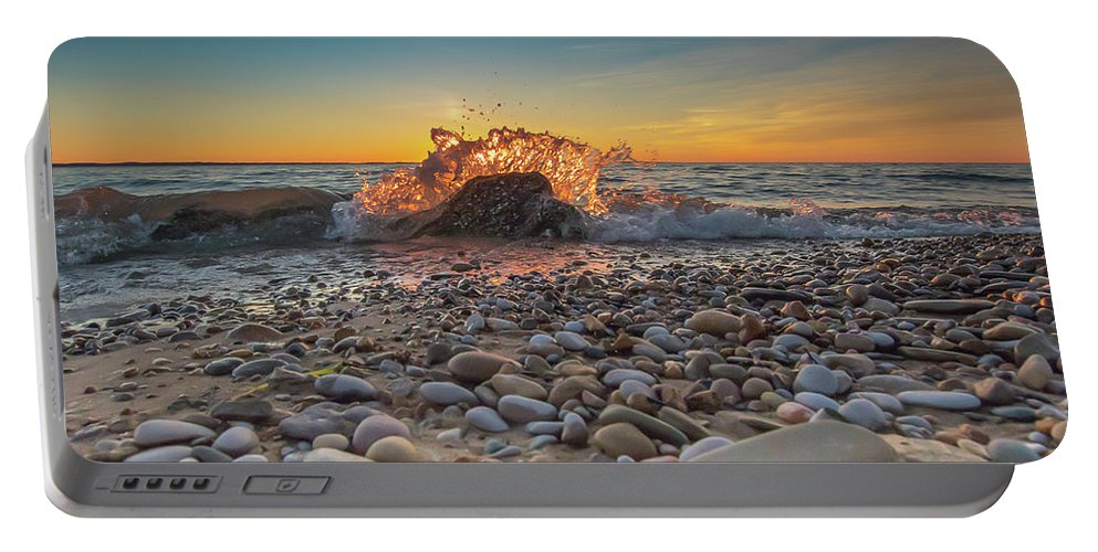 Sunset Portable Battery Charger featuring the photograph Sunset Splash By Sheri Harvey Shargraphics.com by Sheri Harvey